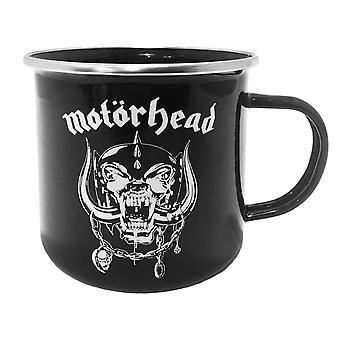 Motörhead ROSELINE emaille koffie mok zwart, gedrukte kopje, gemaakt van staal, geëmailleerd, capaciteit 500 ml.