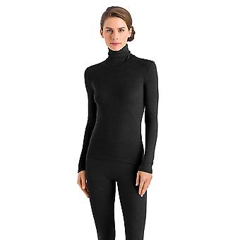 Hanro Women's ski underwear Wool & Silk turtleneck black 073403