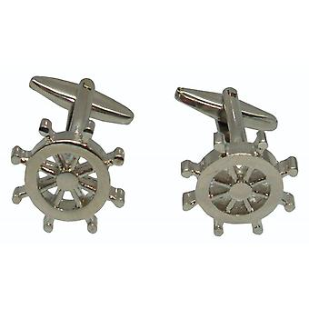 Bassin and Brown Ship Steering Wheel Cufflinks - Silver