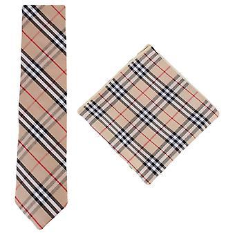 Knightsbridge Neckwear sjekk bomull slips og Pocket Square sett - Beige/sort/rød