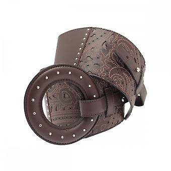 Opika Brown Laser Cut Lambskin Ring Belt