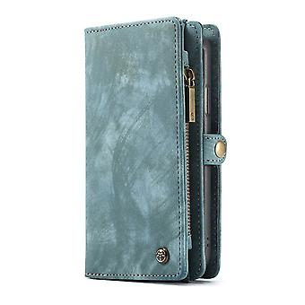 CASEME iPhone XR Retro Split leather wallet Case-Blue