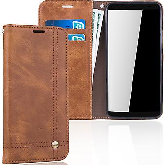 Cell phone cover case voor HTC U12 cover Wallet case Brown