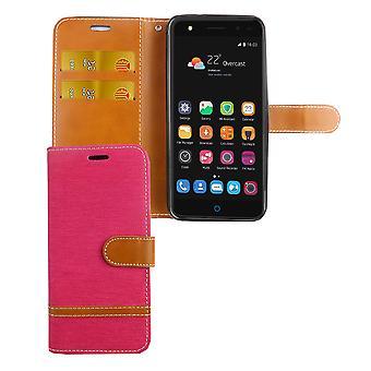 Tasche für ZTE Blade V7 Lite Jeans Cover Handy Schutz Hülle Case Pink