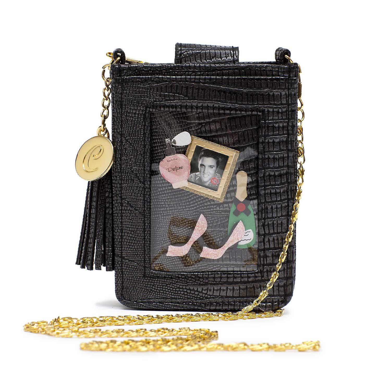 Black Clippy Moc Croc Phone Bag