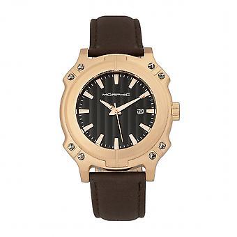 Morphischen M68 Serie Leder-Band Uhr w / Datum - Rose Gold/Braun