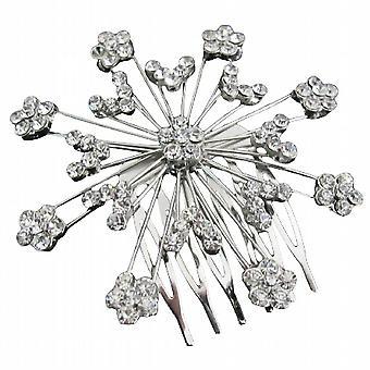 Silver Sparkling Wedding Hair Barrette Cubic Zircon & Rhinestones