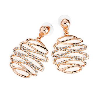 Ladies Rose Gold Swirl Design & Crystals Drop Earrings 4.5cm