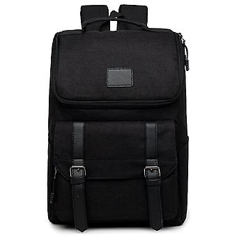 Medium size backpack with faux leather details-black