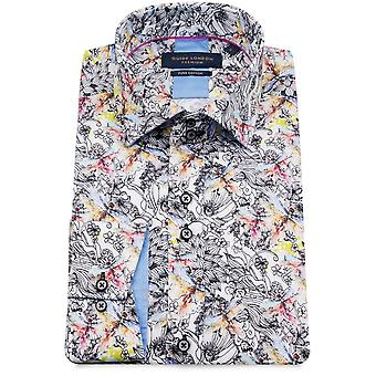 Guide London Black And White Pure Cotton Abstract Print Mens Shirt