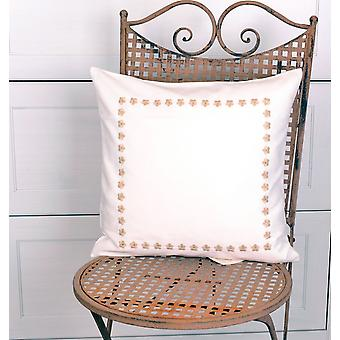 Hossner romantic Cushion cover embroidered country house style cream Brown CA. 40 x 40 cm