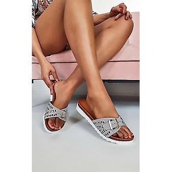 IKRUSH Womens Hails Diamante Embellished Buckle Sliders