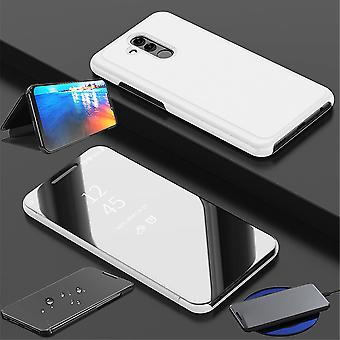 Huawei P30 Lite Clear View Mirror peili Smartcover Silver suoja kotelo kotelo kotelo tapa uksessa tapa uksessa uusi asia herätä toiminto
