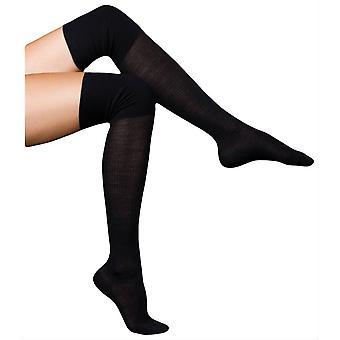 Falke Finest No3 Merino and Silk Over the Knee Socks - Black