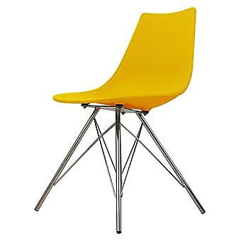 Fusion Living Iconic Yellow Plastic Dining Chair With Chrome Metal Legs
