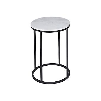 Gillmore White Marble And Black Metal Contemporary Circular Side Table