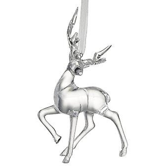 Silver Prancing Reindeer Hanging Decoration