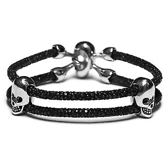 Lavriche Black Stingray and Stainless Steel Skull Bracelet