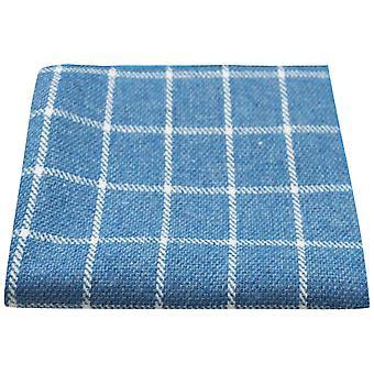 Azure Blue Birdseye Check Einstecktuch, Taschentuch