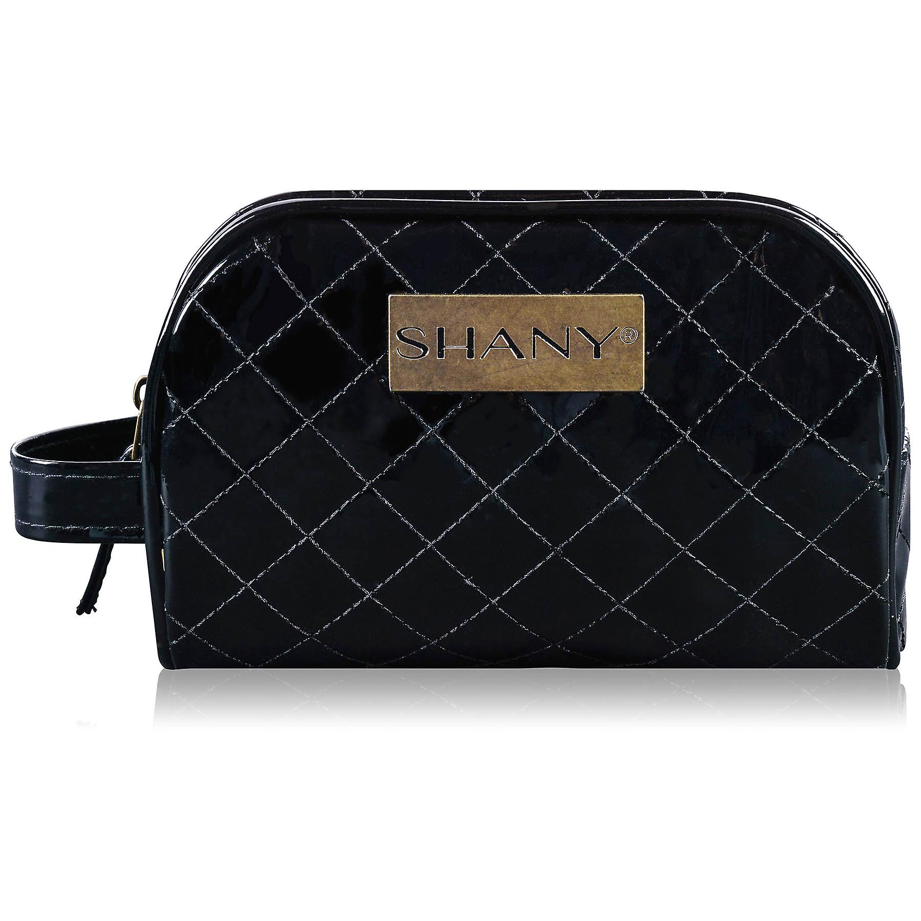 SHANY Quilted Travel Cosmetic Bag – Faux Patent Leather Zipper Organizer with Two Interior Pockets and Exterior Handle - BLACK