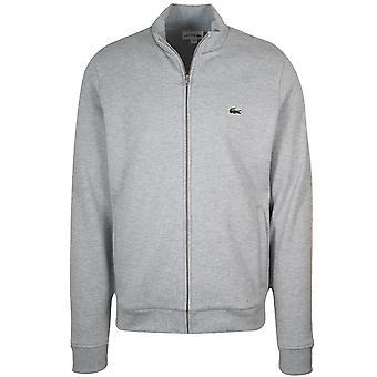 Lacoste grå Pique tröja med blixtlås