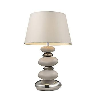 Elemis table lamp in chrome and stone with white shade - led