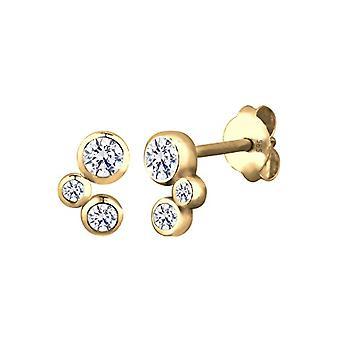 Elli örhängen kvinnors pärla i silver-guld 585 med vit Cubic zirconia