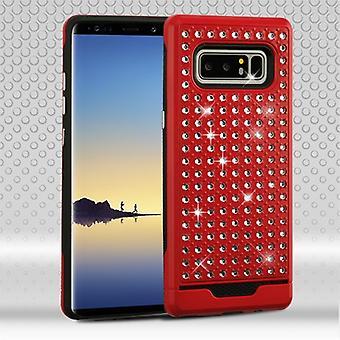 ASMYNA röd/svart Diamante FullStar Protector Cover för Galaxy Note 8