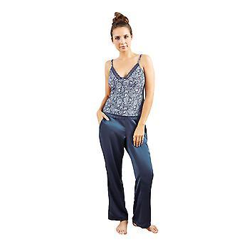 Guy de France 18025-2-093 Women's Blue Motif Pajama Pyjama Top