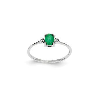 14k Diamante Polido de Ouro Branco e Emerald Ring Tamanho 6 Joias Para Mulheres - .01 dwt