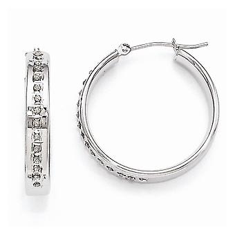 14k White Gold Polished Diamond Fascination Round Hinged Hoop Earrings Measures 25x4mm Jewelry Gifts for Women
