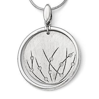 925 Sterling Silver Polished and Brushed Crystal Pendant