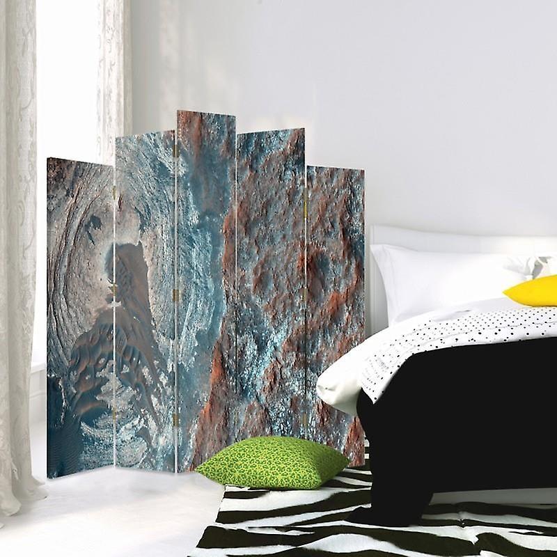 Diviseur de pièce décoratif, 5 panneaux, double-sided, toile rotative de 360 , abstraction structurale