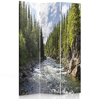 Room Divider, 3 Panels, Single-Sided, Canvas, River In The Forest