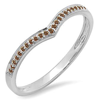 Dazzlingrock Collection 0.10 Carat (ctw) 14K Champagne Diamond Wedding Stackable Band Chevron Ring 1/10 CT, White Gold