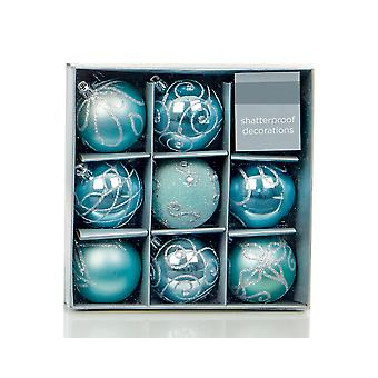 9 Ice Blue 6cm Embellished Shatterproof Christmas Tree Bauble Decorations