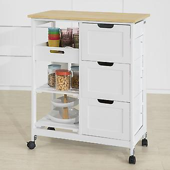 SoBuy Kitchen Storage Trolley con 3 cassetti,FKW79-W