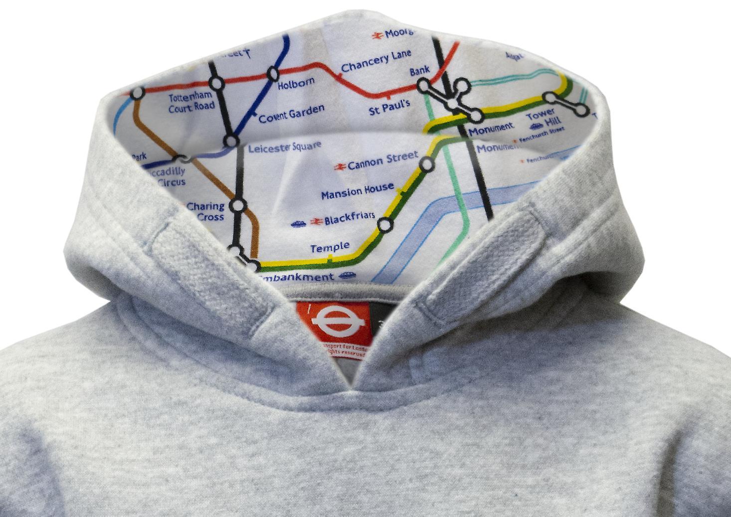 Tfl™129k kids licensed chain stitch embroidery underground™ hoodie grey