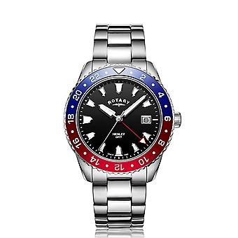 Rotary GB05108-30 Men's Henley Red/Blue GMT Wristwatch