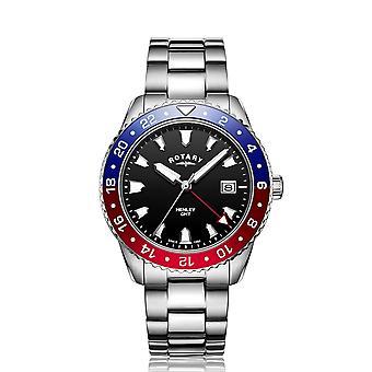 الروتاري GB05108-30 الرجال & s هينلي الأحمر / الأزرق GMT ساعة اليد