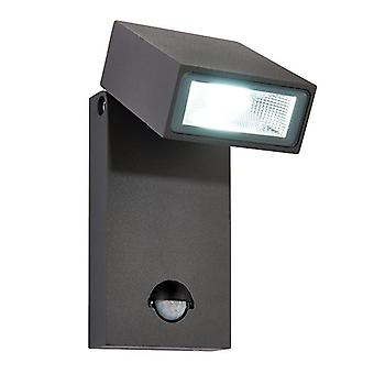 Saxby Lighting Morti Pir Integrated LED PIR 1 Light Outdoor Wall Light Textured Dark Matt Anthracite, Glass IP44 67686