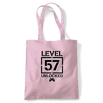 Level 57 Unlocked Video Game Birthday Tote | Age Related Year Birthday Novelty Gift Present | Reusable Shopping Cotton Canvas Long Handled Natural Shopper Eco-Friendly Fashion