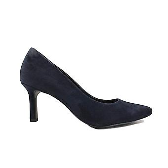 Paul Green 3757-02 Navy Blue Suede Leather Womens Slip On Stiletto Court Shoes