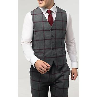 Dobell Mens Grey Tweed Waistcoat Regular Fit Burgundy Windowpane Check