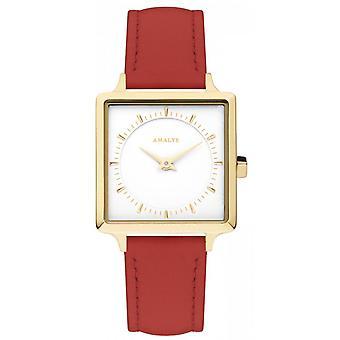 Montre Amalys ADELINE - Acier IP dor� Cadran Blanc Bracelet Cuir Rouge Femme