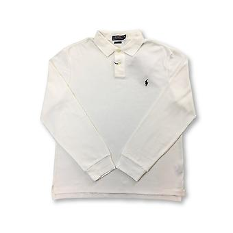 Ralph Lauren Polo slim fit long sleeve cotton polo in white with logo