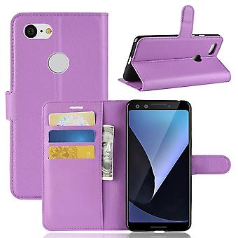 For Google Pixel 3 Leather Wallet Case Purple Lychee Texture Cover,Card Slots