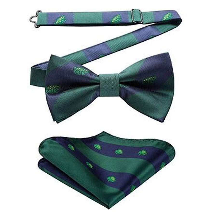Navy blue & green frog bow tie & pocket square