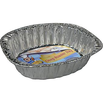 Kingfisher 3 Pack Of Oval Foil Deep Roasting Trays 8.5 x 35 x 28cm