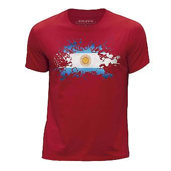 STUFF4 Boy's Round Neck T-Shirt/Argentina Flag Splat/Red